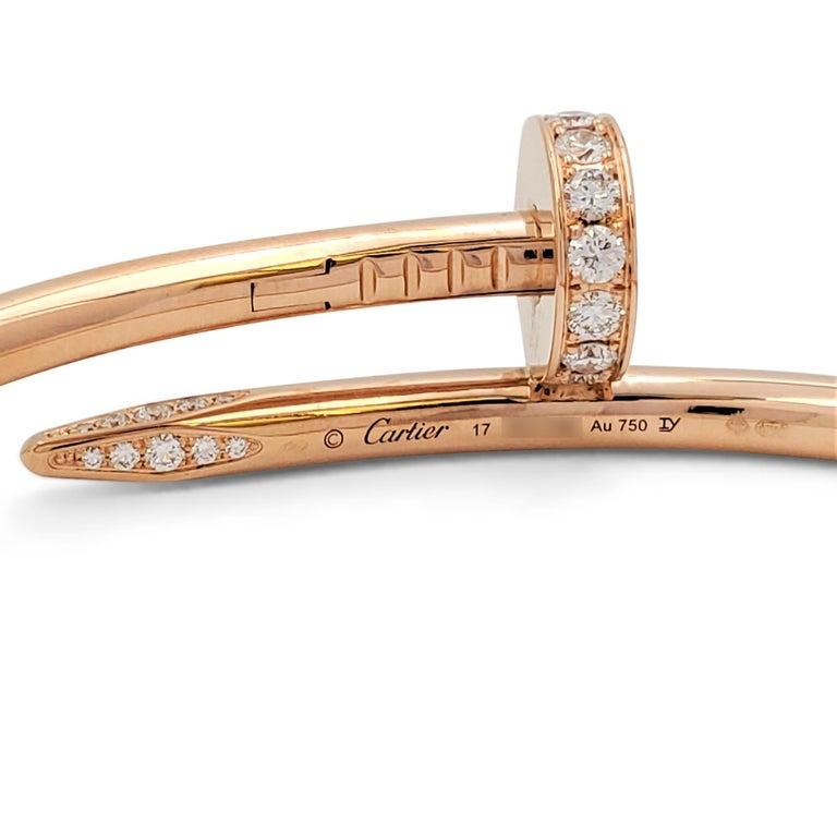 Cartier 'Juste un Clou' Rose Gold and Diamond Bracelet For Sale 1