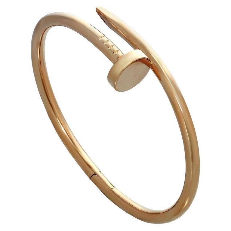 Cartier Juste Un Clou Rose Gold Bangle Bracelet Pouch Papers For Sale