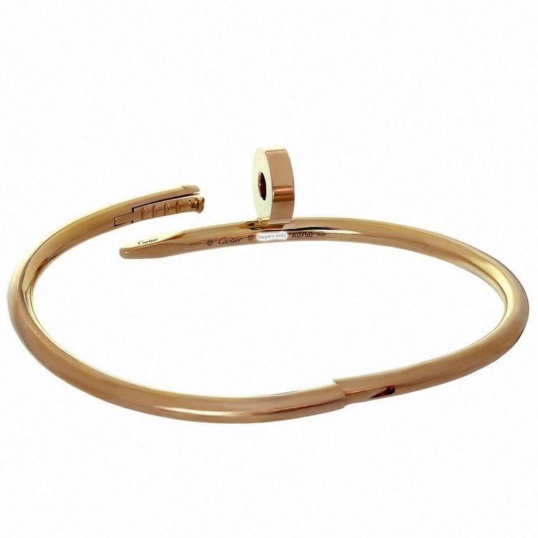 Cartier Juste Un Clou Rose Gold Bangle Bracelet Pouch Papers For Sale 2