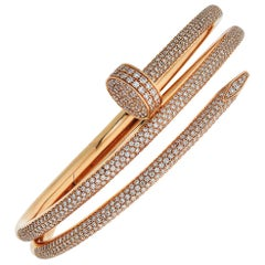 Cartier Rose Gold Juste Un Clou Diamond Pave Double Nail Bracelet