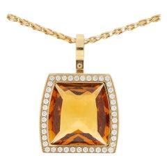 Cartier La Dona Citrine and Diamond Pendant Set in 18 Karat Yellow Gold