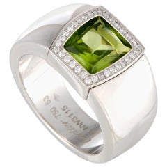 Cartier La Dona Diamond and Peridot 18 Karat White Gold Ring