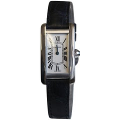 Cartier Ladies 18 Karat Gold Tank Americaine Box and Papers W2601956 Year 2009