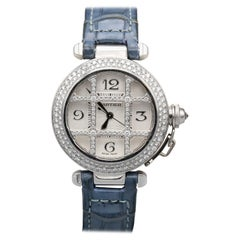 Cartier Ladies 18 Karat White Gold Diamond Grille Pasha Automatic Wristwatch