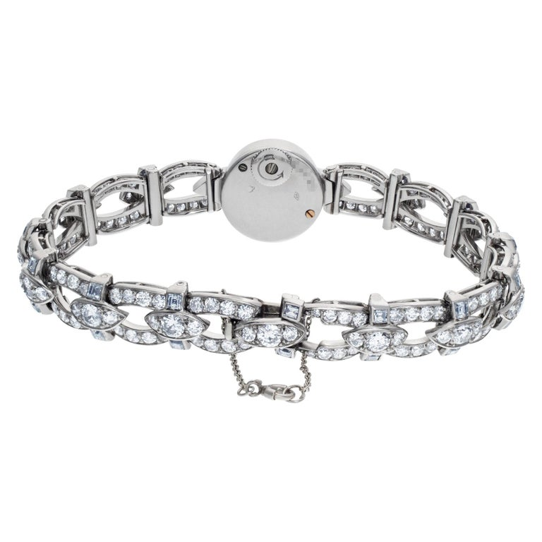 Brilliant Cut Cartier Ladies Cocktail Watch in Platinum with Diamonds For Sale