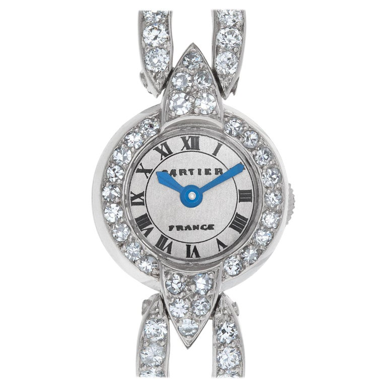Cartier Ladies Cocktail Watch in Platinum with Diamonds For Sale