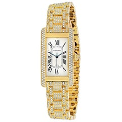 Cartier Ladies Diamond Wristwatch 18 Karat Yellow Gold Diamond Tank Americaine