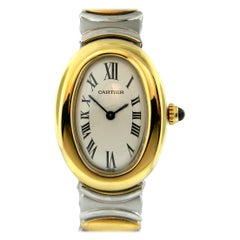 Cartier Ladies Rare Baignoire 18 Karat Gold and Steel Quartz Watch W15045D8