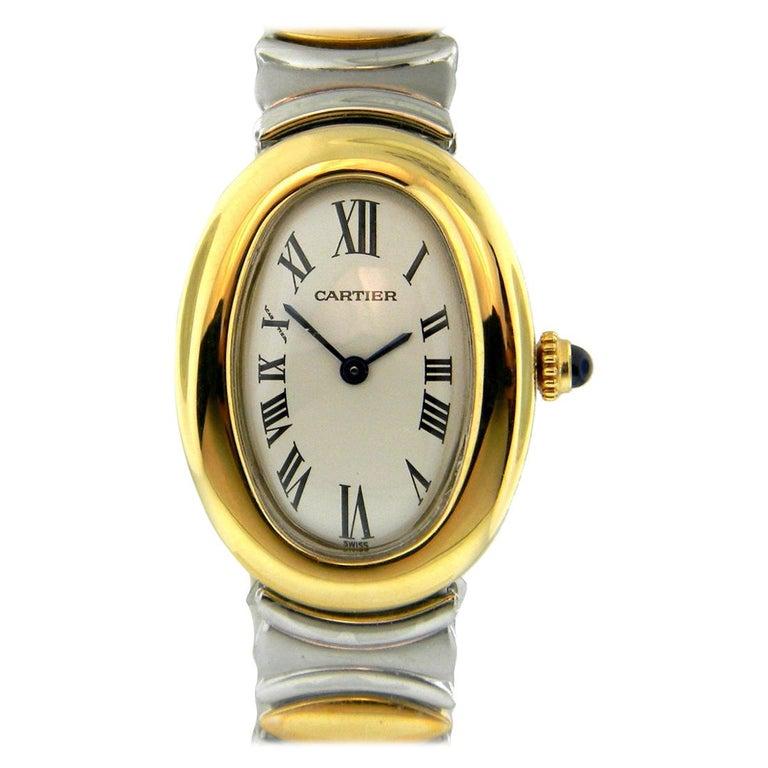 Cartier Ladies Rare Baignoire 18 Karat Gold and Steel Quartz Watch W15045D8