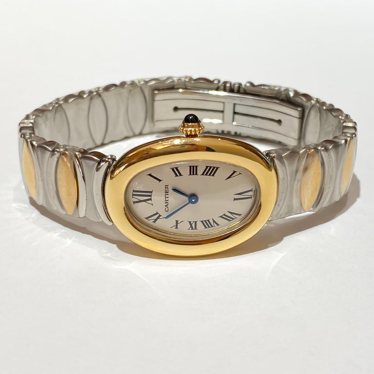 Cartier Ladies Rare Baignoire 18 Karat Gold and Steel Quartz Watch W15045D8 In Excellent Condition In Carmel-by-the-Sea, CA