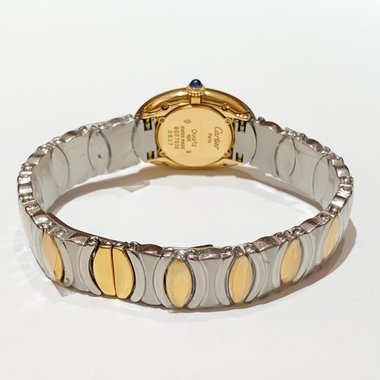 Women's Cartier Ladies Rare Baignoire 18 Karat Gold and Steel Quartz Watch W15045D8