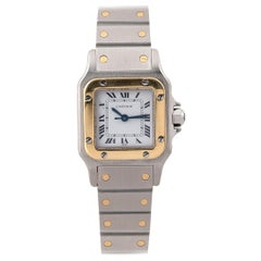 Cartier Santos Ladies Stainless Steel and Gold Automatic Bracelet Watch