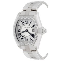Cartier Ladies Stainless Steel Roadster Quartz Wristwatch with Diamonds