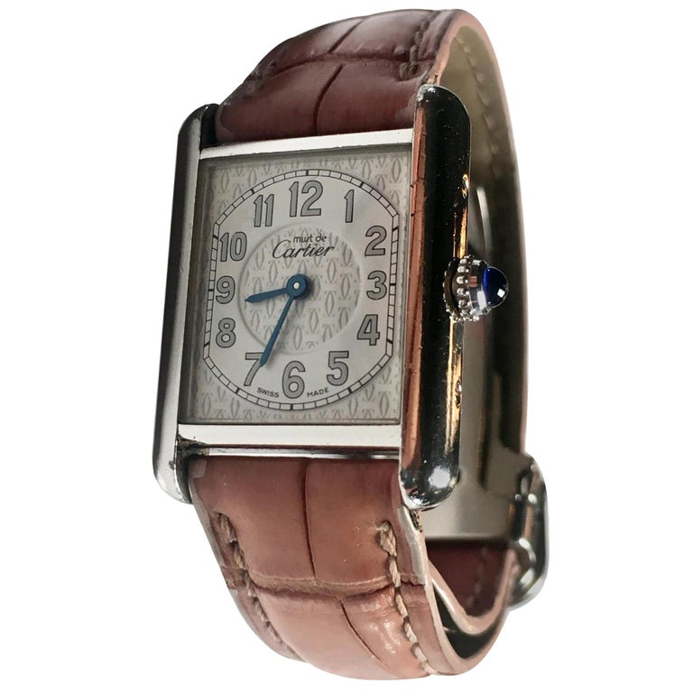 3733ca993ca Cartier Ladies Sterling Silver Must de Cartier Tank Quartz Wristwatch For  Sale at 1stdibs