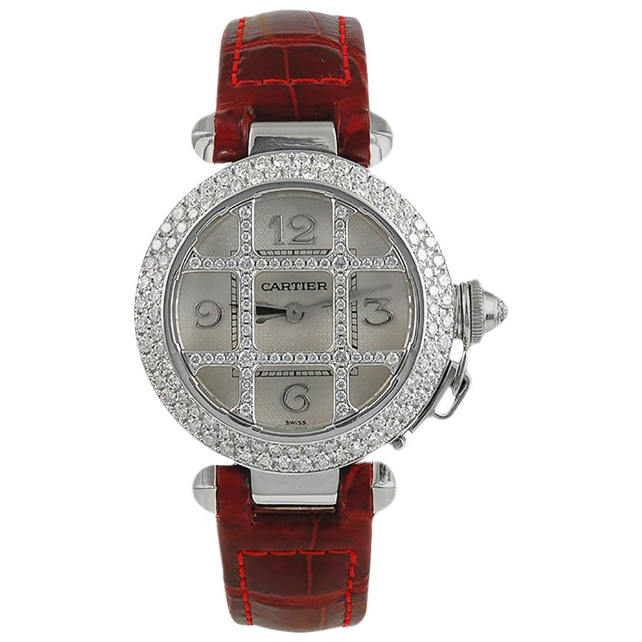 Cartier Ladies White Gold Diamond Pasha Automatic Wristwatch