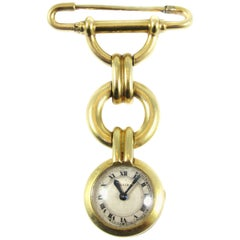 Cartier Ladies Yellow Gold Art Deco Pendant Lapel Watch