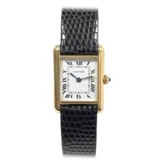 Cartier Ladies Yellow Gold Classic Quartz Tank Wristwatch