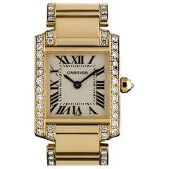 Cartier LadiesYellow Gold Diamond Tank FrancaiseRoman Dial Quartz Wristwatch