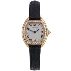Cartier Ladies yellow Gold Diamond Tonneau Tortue Manual Wristwatch, c 1980