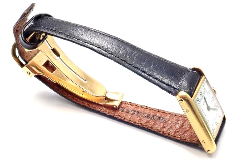 Women's or Men's Cartier Ladies Yellow Gold Mini Tank Wristwatch For Sale