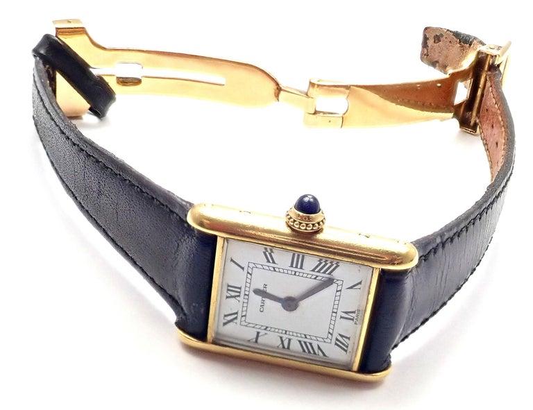 Cartier Ladies Yellow Gold Mini Tank Wristwatch For Sale 1