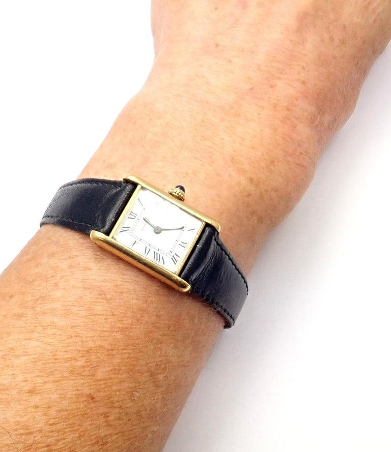 Cartier Ladies Yellow Gold Mini Tank Wristwatch For Sale 5