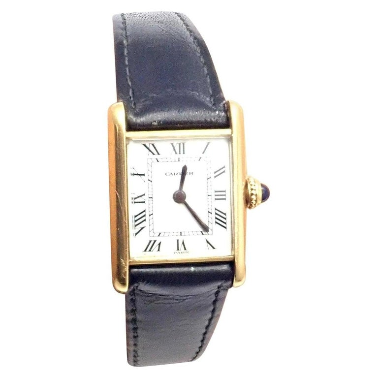 Cartier Ladies Yellow Gold Mini Tank Wristwatch For Sale