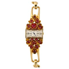 Cartier Ladies Yellow Gold Ruby Set Wristwatch