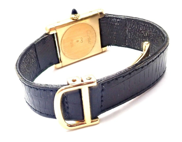 Cartier Ladies Yellow Gold Tank Wristwatch For Sale 6