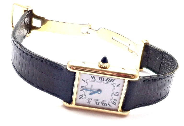 Cartier Ladies Yellow Gold Tank Wristwatch In Excellent Condition For Sale In Holland, PA