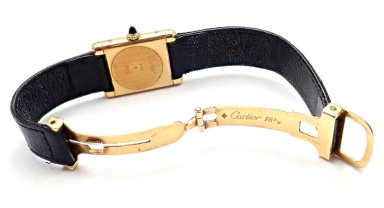 Women's or Men's Cartier Ladies Yellow Gold Tank Wristwatch For Sale