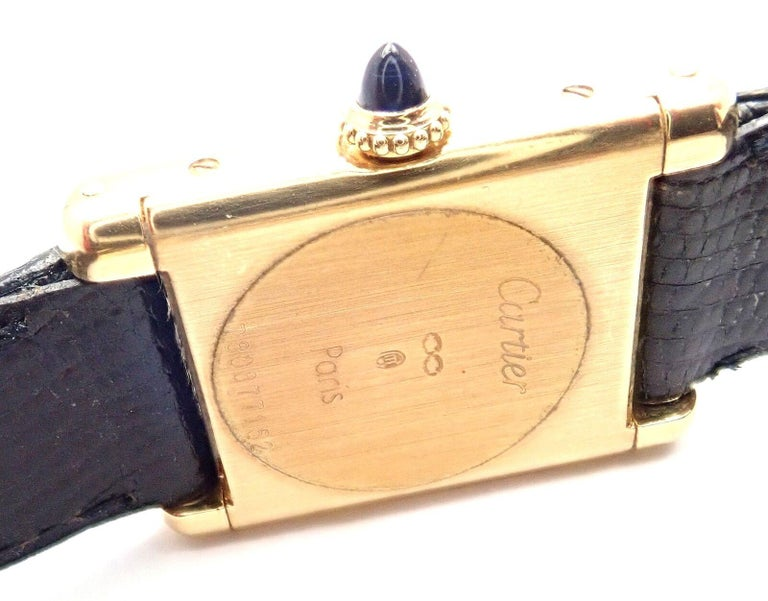 Cartier Ladies Yellow Gold Tank Wristwatch For Sale 1