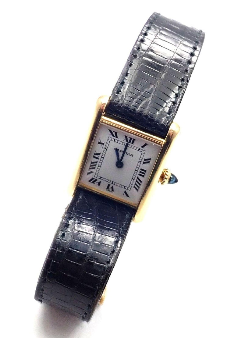 Cartier Ladies Yellow Gold Tank Wristwatch For Sale 2