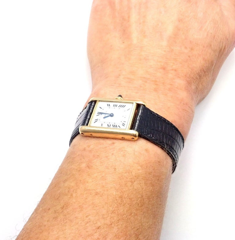Cartier Ladies Yellow Gold Tank Wristwatch For Sale 4