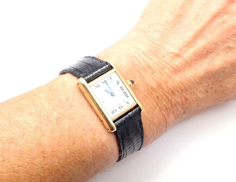 Cartier Ladies Yellow Gold Tank Wristwatch For Sale 5