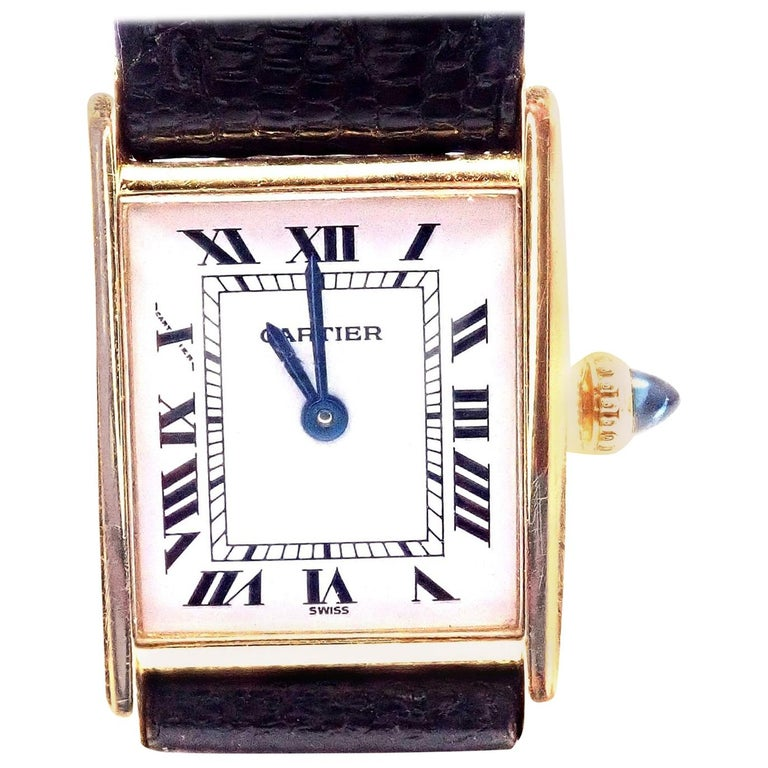 Cartier Ladies Yellow Gold Tank Wristwatch For Sale