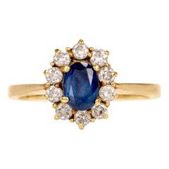 Cartier Lady Diana Sapphire Diamond 18 Karat Gold Ring