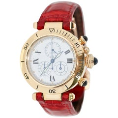 Cartier Lady Pasha Chronograph Date, 18 Karat Gold and Full Cartier Service