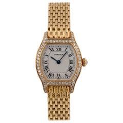 Cartier Ladies 18 Karat Gold Diamond Set Tonneau Form Bracelet Watch