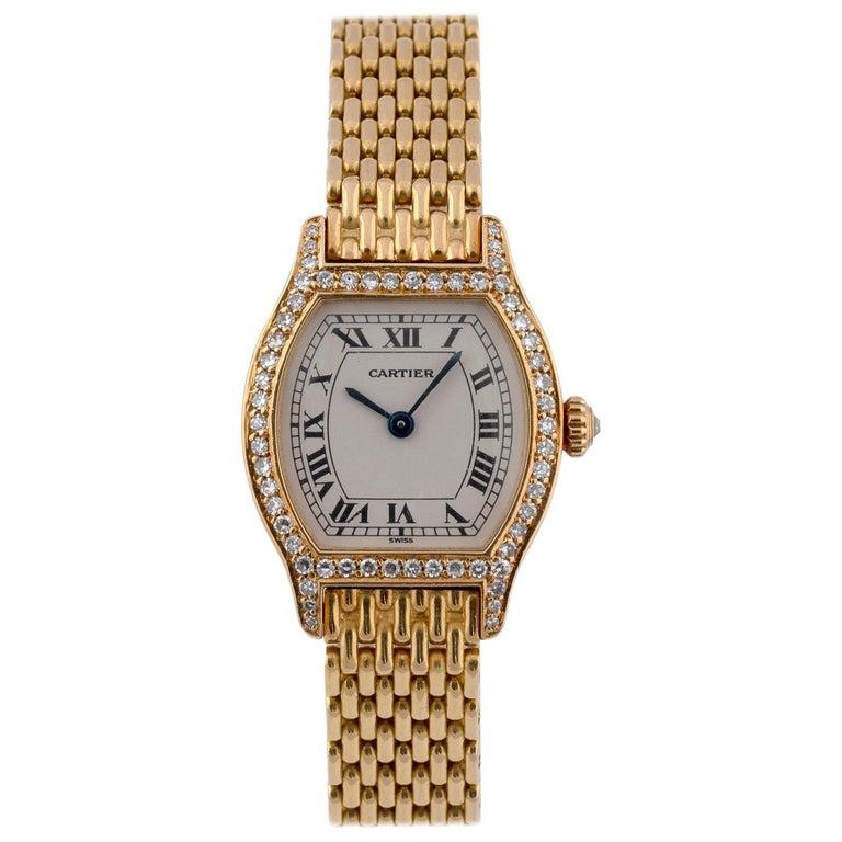 Cartier Ladies 18 Karat Gold Diamond Set Manual Wind Tonneau Form Bracelet Watch For Sale