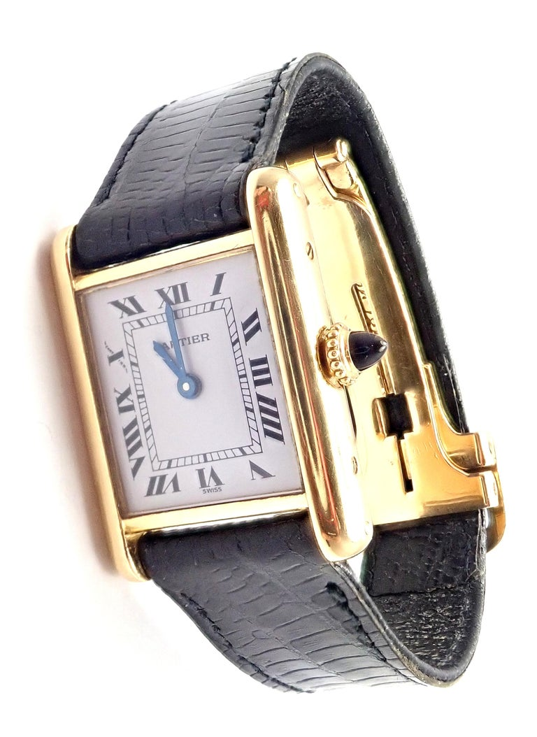 Cartier Ladies Yellow Gold Tank Wristwatch In Excellent Condition In Holland, PA