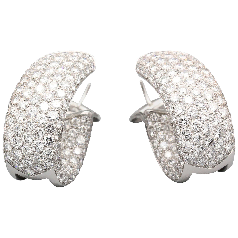 Cartier Lakarda Diamond 18 Karat White Gold Inside-Out Hoop Earrings