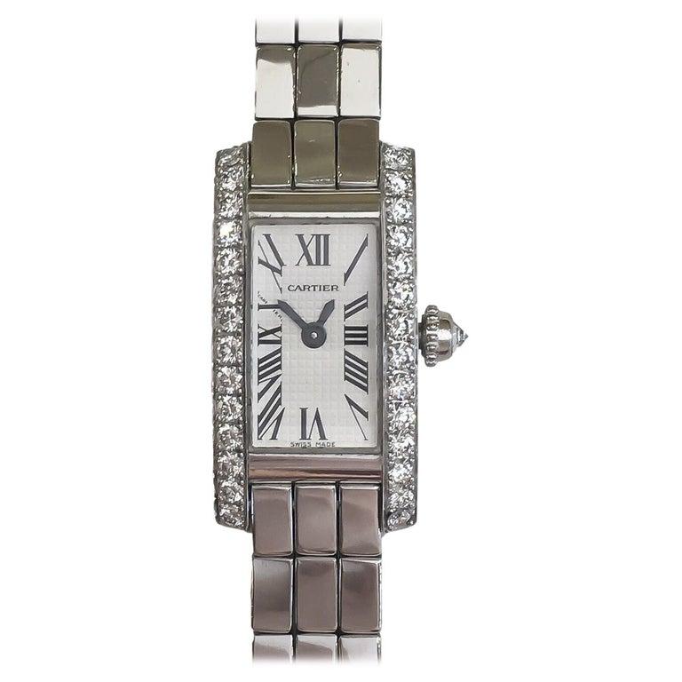 Cartier Lanieres Allongee 18 Karat Gold Diamond Case Quartz Watch W15364W3 For Sale