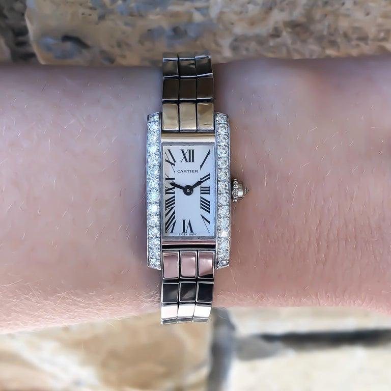 Women's Cartier Lanieres Allongee 18 Karat Gold Diamond Case Quartz Watch W15364W3 For Sale