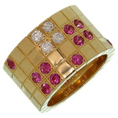 Cartier Lanières Diamond Pink Sapphire Yellow Gold Wide Band Ring