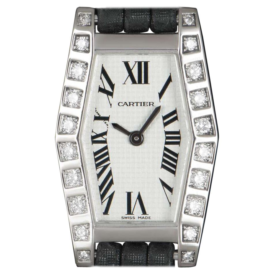 Cartier Lanieres Ladies 18 Karat White Gold Silver Dial Diamond Set WJ2005W3