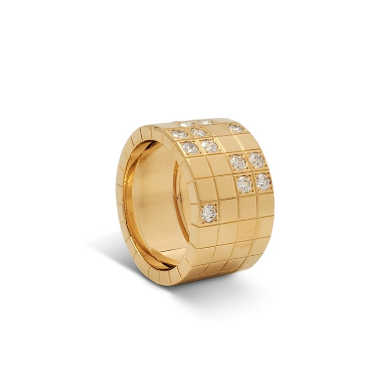 Round Cut Cartier 'Lanières' Yellow Gold and Diamond Wide Band Ring For Sale