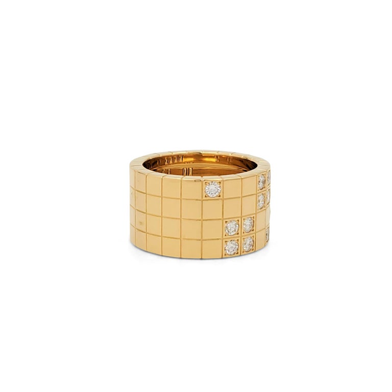 Cartier 'Lanières' Yellow Gold and Diamond Wide Band Ring In Excellent Condition For Sale In New York, NY