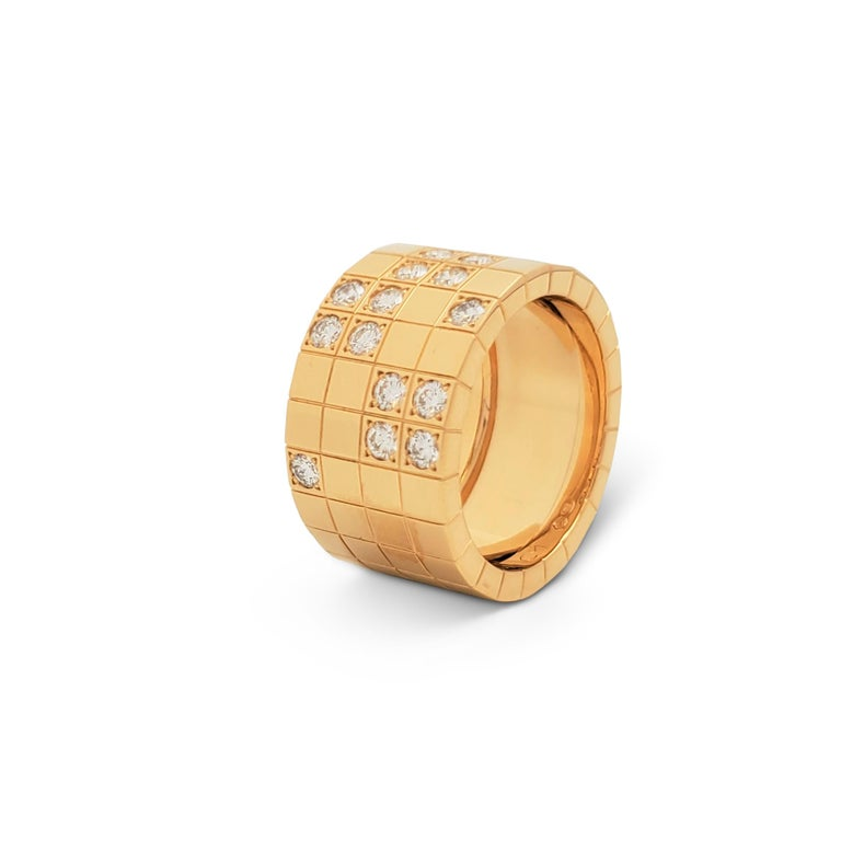 Women's or Men's Cartier 'Lanières' Yellow Gold and Diamond Wide Band Ring For Sale