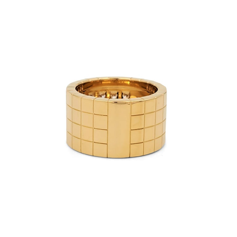 Cartier 'Lanières' Yellow Gold and Diamond Wide Band Ring For Sale 1